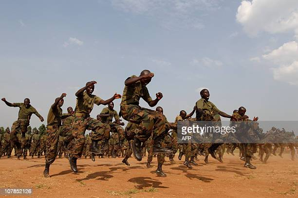 Soldiers of the Uganda people's defences forces train as they display their martialarts skills during a 'passout' ceremony at the Singo military camp...