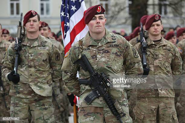 Soldiers of the US 173rd Airborne Brigade prepare to participate in a parade in the city center during the Iron Sword multinational military...