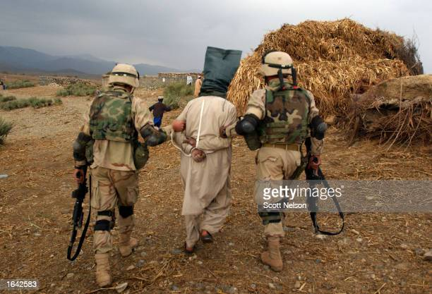 Soldiers of the US 82nd airborne detain an Afghan man during Operation Alamo Sweep in Southeastern Afghanistan The US military refers to people...