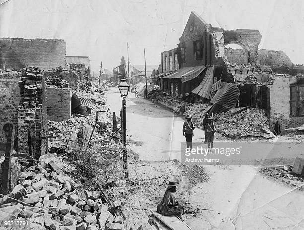 Soldiers of the West Indies Regiment on guard after the 1907 earthquake that devastated Kingston Jamaica taken by J W Cleary