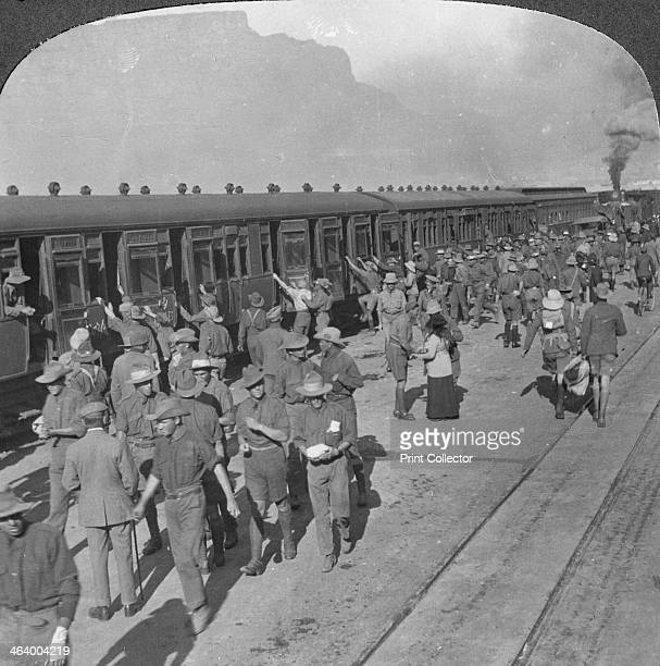 Soldiers of the Wiltshire Rifles boarding a train Cape Town South Africa World War I c1915 Wiltshire Rifles back from Windhoek entrain at Cape Town...
