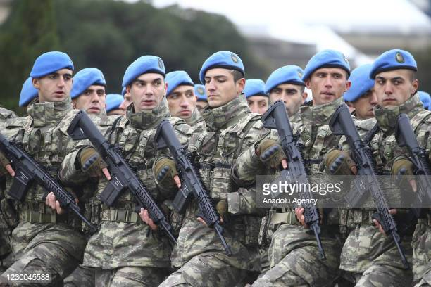 Soldiers of Turkish Armed Forces take part at the Victory Parade held to celebrate Azerbaijani army's victory in Nagorno-Karabakh on December 10,...