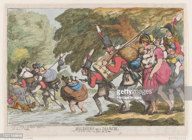 Soldiers on a March, April 1, 1808. Artist Thomas Rowlandson.