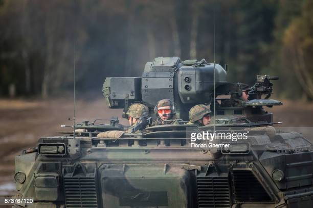 Soldiers on an armored infantry fighting vehicle 'Marder' Shot during an exercise of the land forces on October 13 2017 in Munster Germany