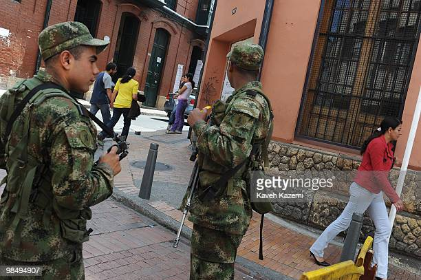 Soldiers on duty at a roadblock in Candeleria near presidential palace in old part of the city Bogota formerly called Santa Fe de Bogota is the...