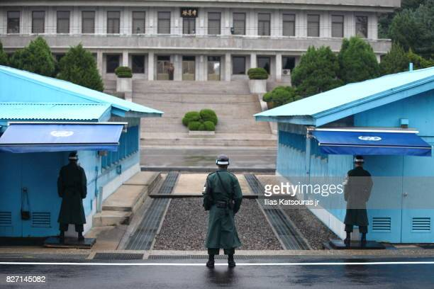 Soldiers on guard at Korean Joint Security Area