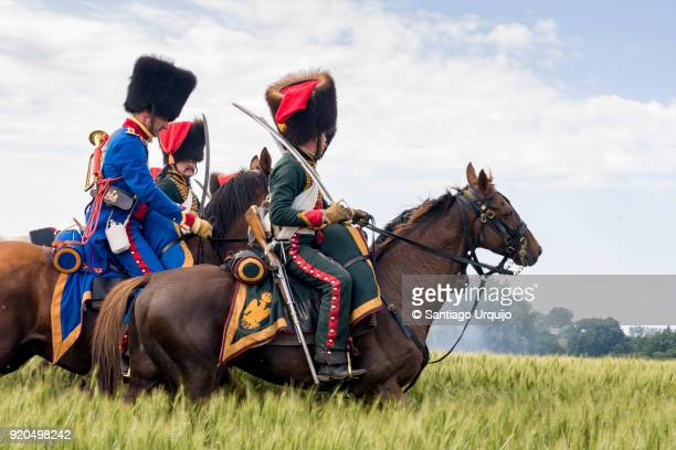 Soldiers on horse in the Waterloo battle