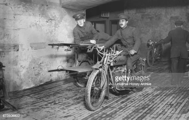 Soldiers on Motorcycle Ambulance at Hero Land Bazaar a War Relief Benefit during World War I Grand Central Palace New York City New York USA Bain...