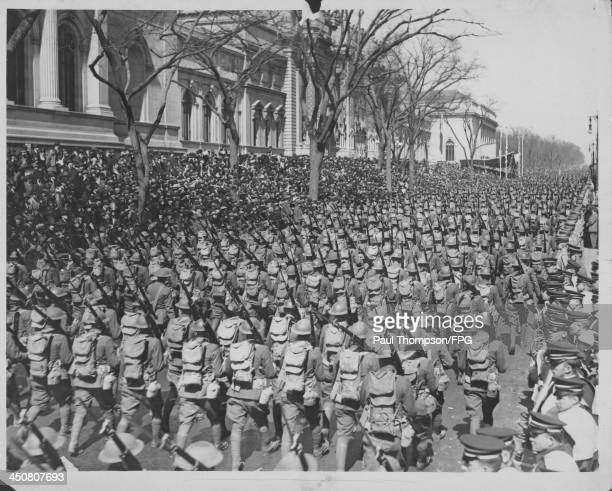 US soldiers on parade marching past the Metropolitan Museum of Art during World War One New York City circa 19141918