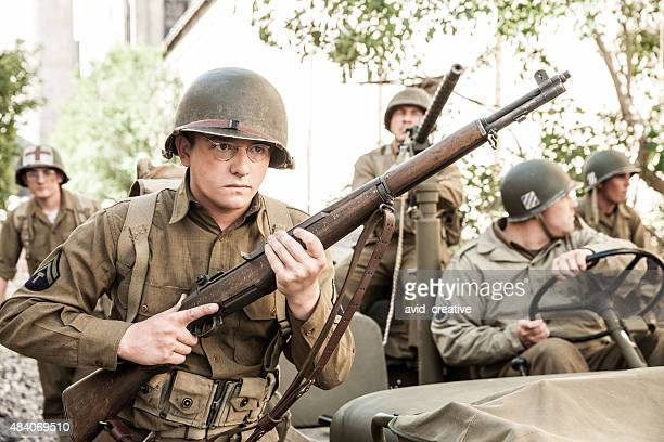 wwii soldiers on patrol - world war ii stock pictures, royalty-free photos & images