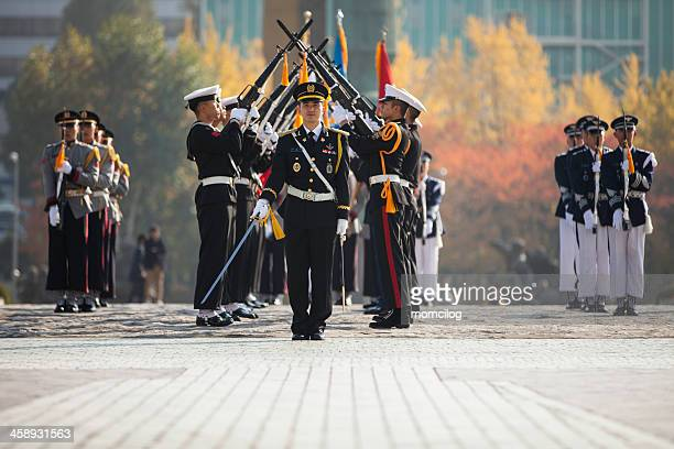Soldiers parade at the War Memorial of Korea