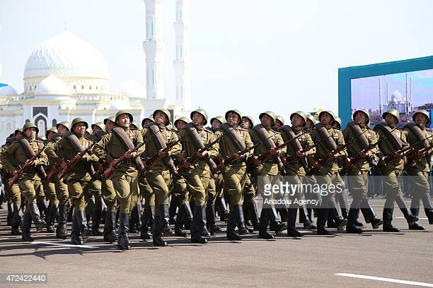 Soldiers parade during the celebrations of the anniversary of Kazakhstani Armed Forces in Astana Kazakhstan on May 7 2015