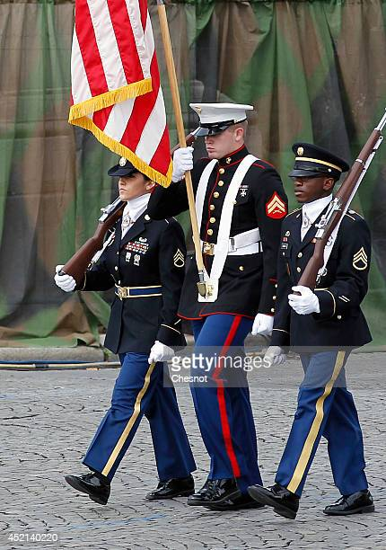 US soldiers parade on the Champs Elysees avenue in the annual Bastille Day military parade on July 14 in Paris France France has issued an...