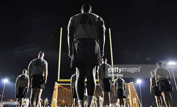 Soldiers participate in predawn physical training at the US naval base at Guantanamo Bay Cuba on Thursday Oct 18 2012 Khalid Sheikh Mohammed the...