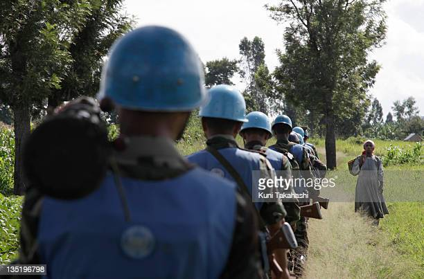Soldiers patrol April 27, 2010 in Kiwanja, about 80km north of Goma, Democratic Republic of Congo. The long war had involved 9 African nations and...