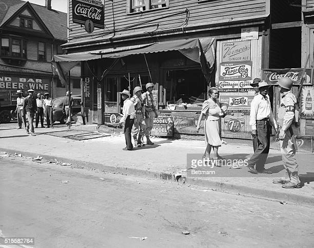 Soldiers patrol Hastings Street the center of Detroit's African American district The US army restored order to Detroit after the nation's worst race...