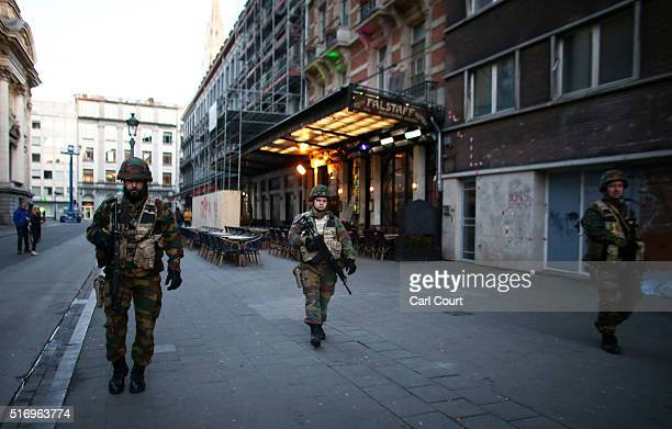 Soldiers patrol in the city centre following today's attacks on March 22 2016 in Brussels Belgium At least 31 people are thought to have been killed...