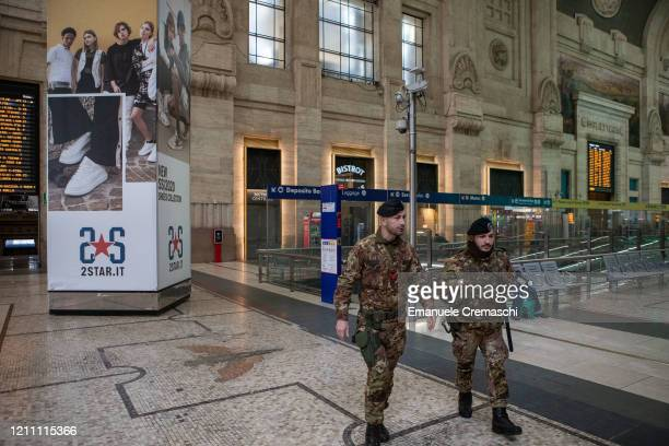 Soldiers patrol Milan's Central Station on March 08 2020 in Milan Italy Prime Minister Giuseppe Conte announced overnight a national emergency due to...