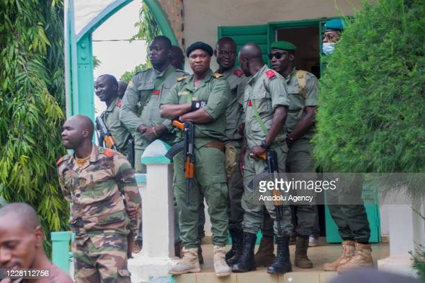 Soldiers patrol near as military arrested Malian president Ibrahim Boubacar Keita is being held in the Kati garrison, which is 15 kilometers from the...