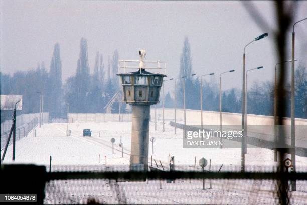 Soldiers patrol near the Berlin wall in the no man's land marking the border between East and West Berlin near the Berlin wall on February 07, 1986.
