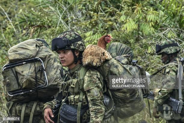 Soldiers patrol the Serrania La Lindosa in the Amazonian jungle department of Guaviare, Colombia, on June 8, 2018. - The Serrania La Lindosa,...