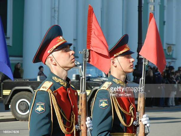 CONTENT] Soldiers posing in the dress rehearsal for the victory parade of Russia over nazi Germany in front of Saint Petersburg's Hermitage
