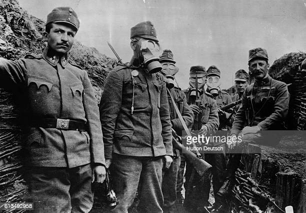 Soldiers, possibly Austrian, wearing gas masks at the Western Front during the First World War.
