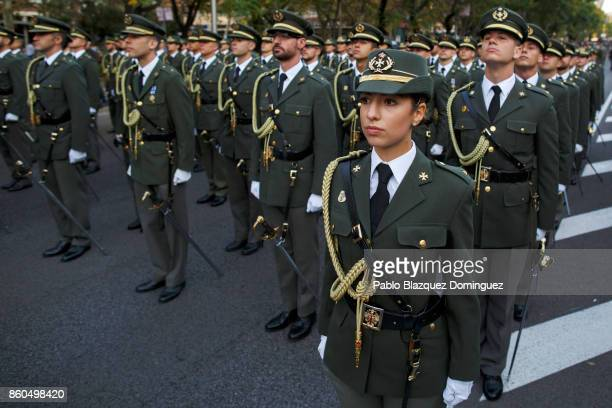 Soldiers prepare for the start of Spain's National Day military parade on Castellana Street on October 12 2017 in Madrid Spain Every October 12...