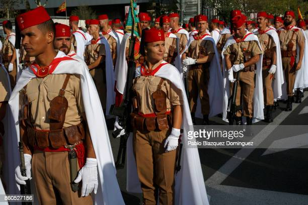 Soldiers prepare for the start of Spain's National Day military parade at Castellana Street on October 12 2017 in Madrid Spain Every October 12...