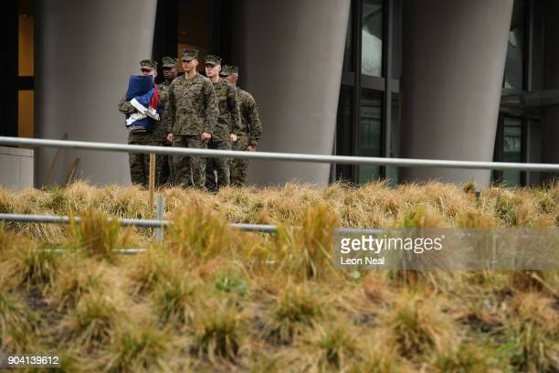 Soldiers prepare to raise the American flag at the new US embassy for the first time on January 12 2018 in London England President Trump has tweeted...