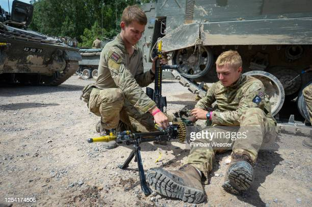 Soldiers prepare weapons prior to a training exercise on Salisbury Plain Training Area on July 03, 2020 in Salisbury, England. 5 RIFLES Battlegroup...
