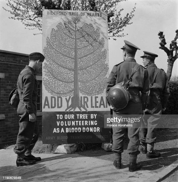 Soldiers reading a sign for the Bideford Tree of Hearts seeking blood donors for the British Army Blood Transfusion Service during World War II...