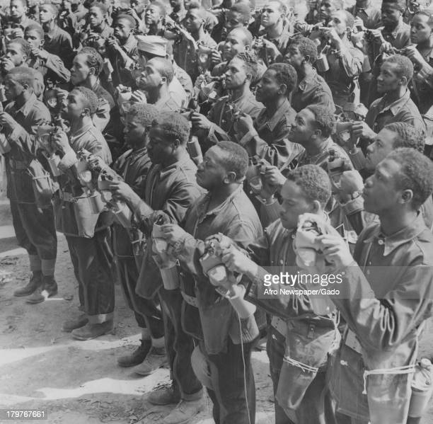 Soldiers receive instruction in use of gas masks at Aberdeen Proving Grounds Aberdeen Maryland September 22 1941