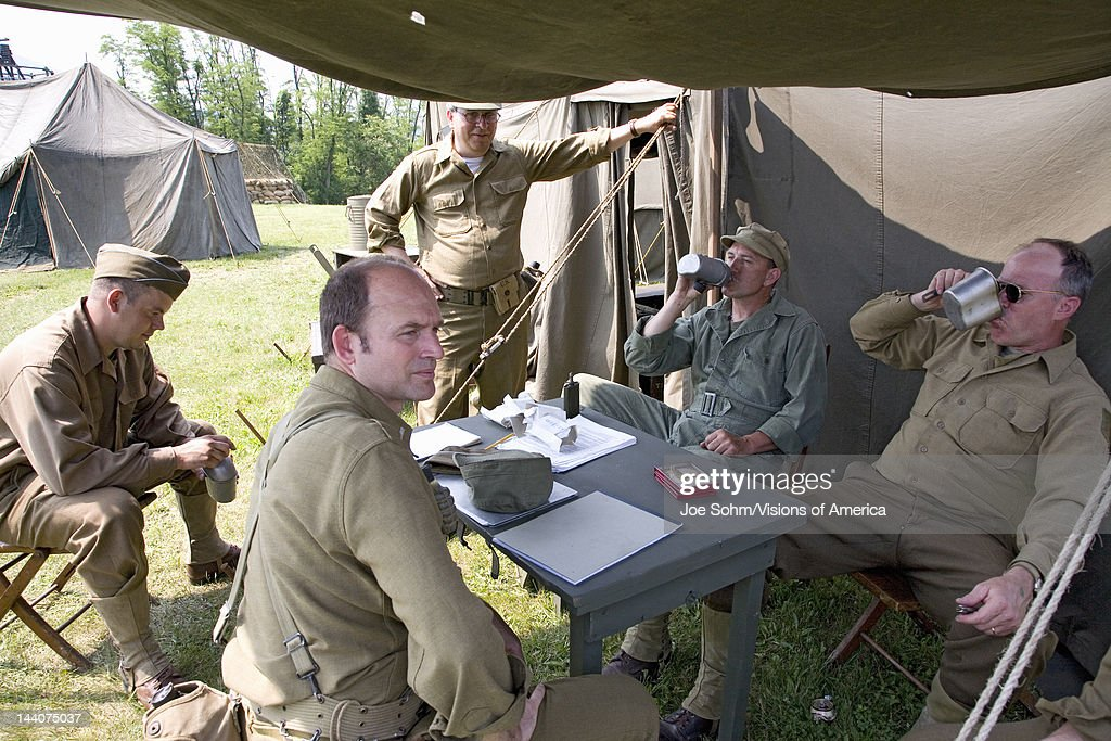 soldiers relax in front of tent at mid atlantic air museum world
