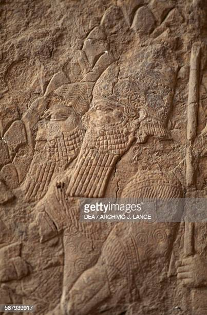 Soldiers relief on an alabaster panel from a palace in Nineveh site was partially destroyed in 2015 Iraq Assyrian civilisation 7th century