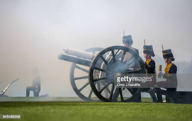 Soldiers reload a gun after firing during a 41 Royal gun salute to mark the 92nd birthday of Queen Elizabeth II at Hyde Park on April 21 2018 in...