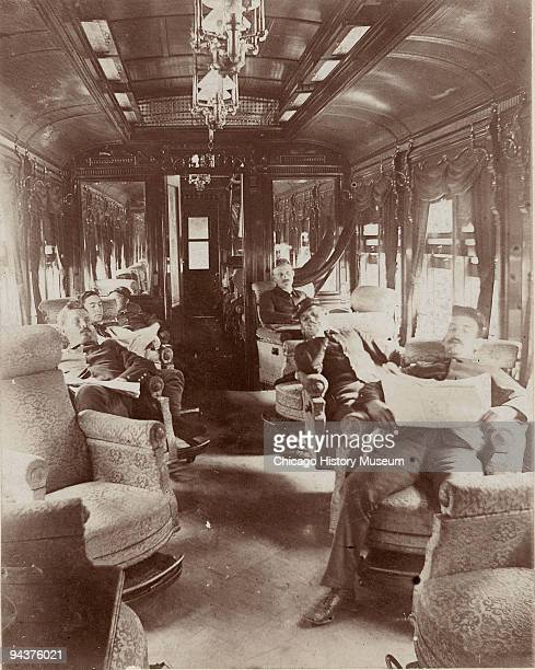 Soldiers rest in Pullman car quarters during the 1894 Pullman Railroad Strike Chicago 1894