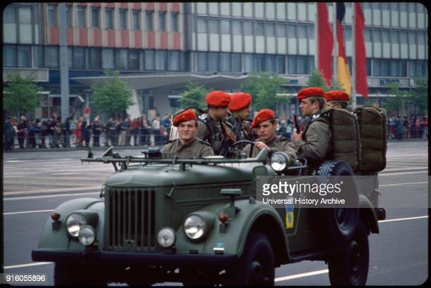 Soldiers Riding in Jeep during May Day Parade East Berlin German Democratic Republic May 1 1974