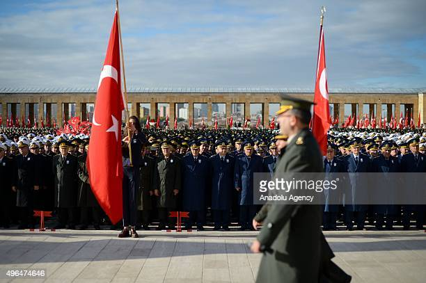 Soldiers salute as they stand in silent homage at Anitkabir mausoleum of Mustafa Kemal Ataturk who is founder of the Republic of Turkey during the...