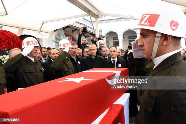 Soldiers salute by the flagdraped coffin of First Lieutenant Erdem Mut who was martyred in a helicopter accident within the 'Operation Olive Branch'...