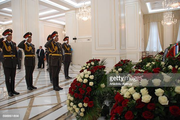 Soldiers salute during the funeral ceremony held for Uzbekistan's President Islam Karimov who died after suffering brain hemorrhage at the...