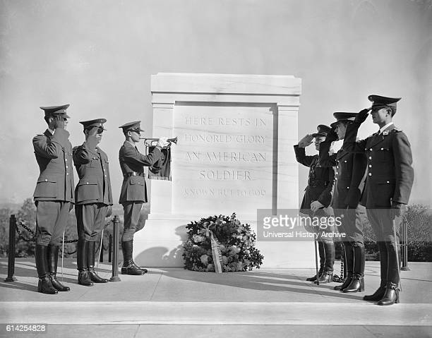 Soldiers Saluting at Tomb of Unknown Soldier Arlington National Cemetery Arlington Virginia USA October 20 1938