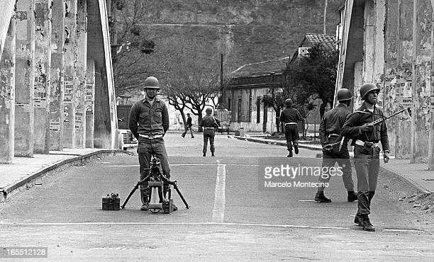 Soldiers secure bridge in Santiago on the morning of the coup that overthrew Salvador Allende, Sept. 11, 1973