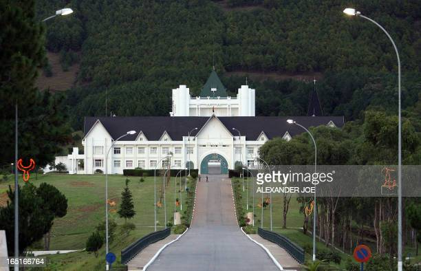 Soldiers stand at the front door of the Madagascar Presidential palace some 13km south of Antananarivo early on March 18 a day after former...