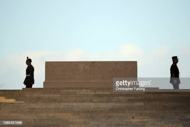 Soldiers stand awaiting Prime Minister Theresa May and French President Emmanuel Macron to attend a wreath-laying ceremony at Thiepval Memorial on...