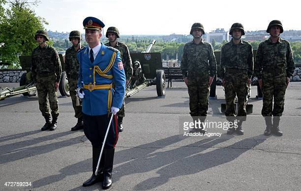 Soldiers stand during Europe Day Victory Day over fascism and 70th anniversary of the victory of Belgrade at Castle Square in Serbia on May 09 2015