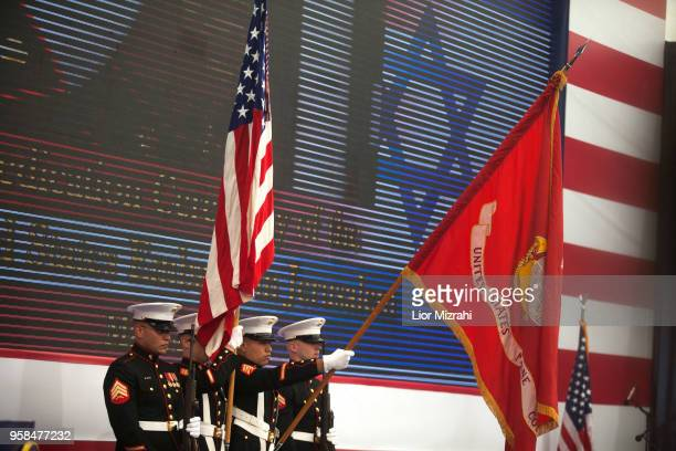 US soldiers stand during the opening of the US embassy in Jerusalem on May 14 2018 in Jerusalem Israel US President Donald J Trump's administration...