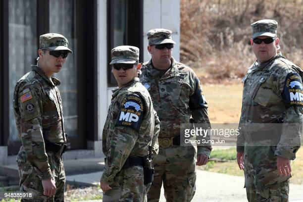 S soldiers stand guard at the border village of Panmunjom between South and North Korea at the Demilitarized Zone on April 18 2018 in Panmunjom South...