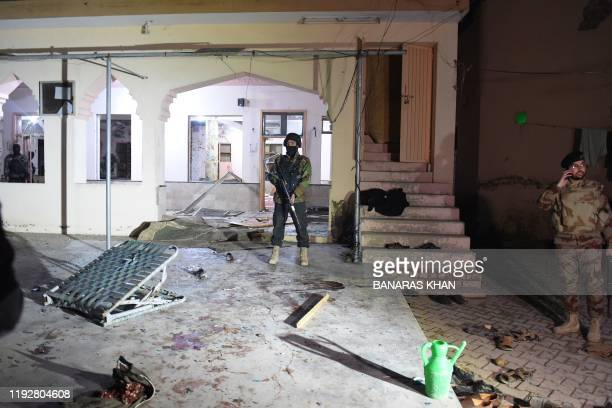 Soldiers stand guard at the premises of a mosque after a bomb blast in Quetta on January 10 2020 At least 10 people were killed and 16 others wounded...