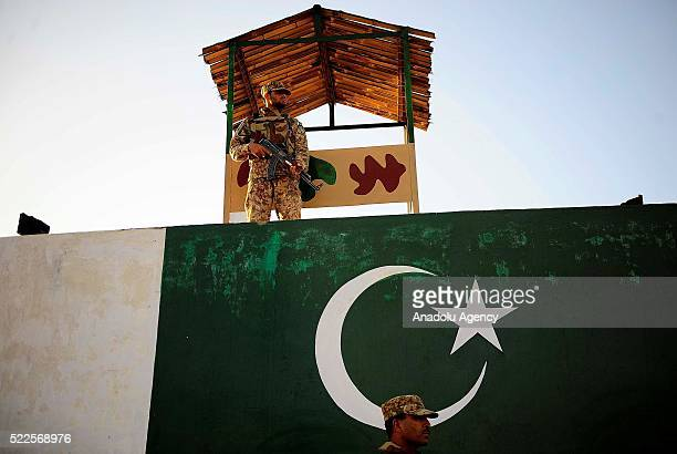 Soldiers stand guard at the Saidgai military check point in the Afghanistan border of North Waziristan Pakistan on April 20 2016 Largescale military...